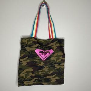 Roxy camouflage tote bag with rainbow handles